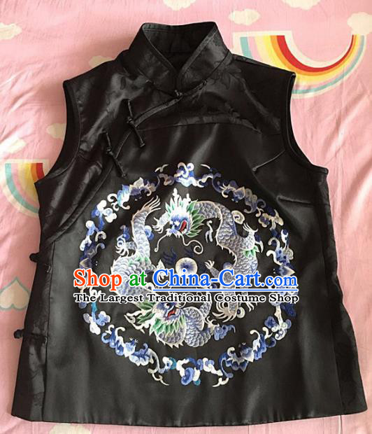 Chinese Traditional Costume Tang Suit Embroidered Dragon Black Vest for Women