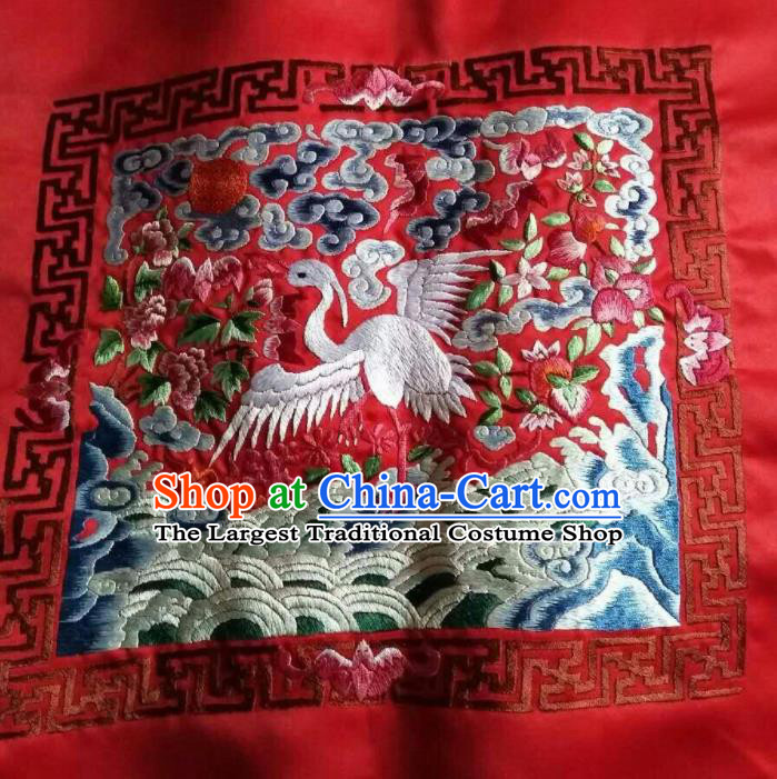 Asian Chinese Traditional Embroidered Crane Red Silk Patches Handmade Embroidery Craft