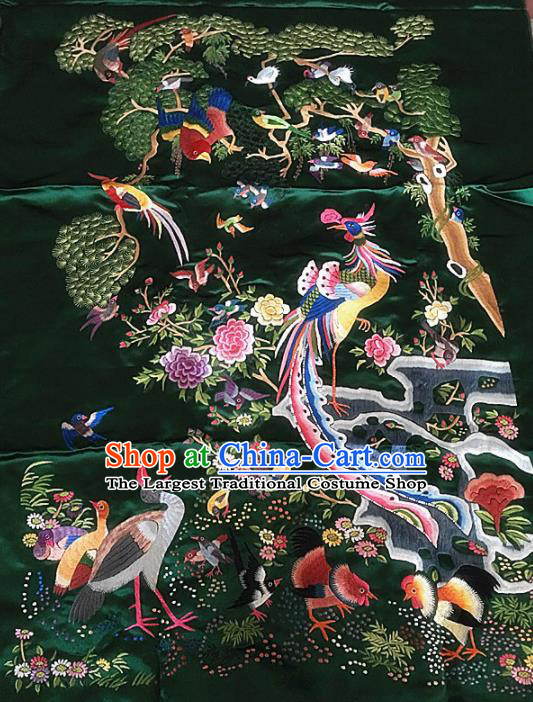 Chinese Traditional Embroidered Phoenix Green Silk Patches Cloth Fabric Handmade Embroidery Craft