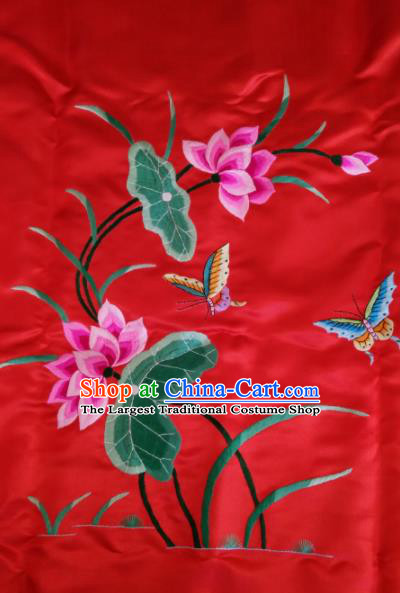 Asian Chinese Traditional Embroidered Lotus Red Silk Patches Handmade Embroidery Craft