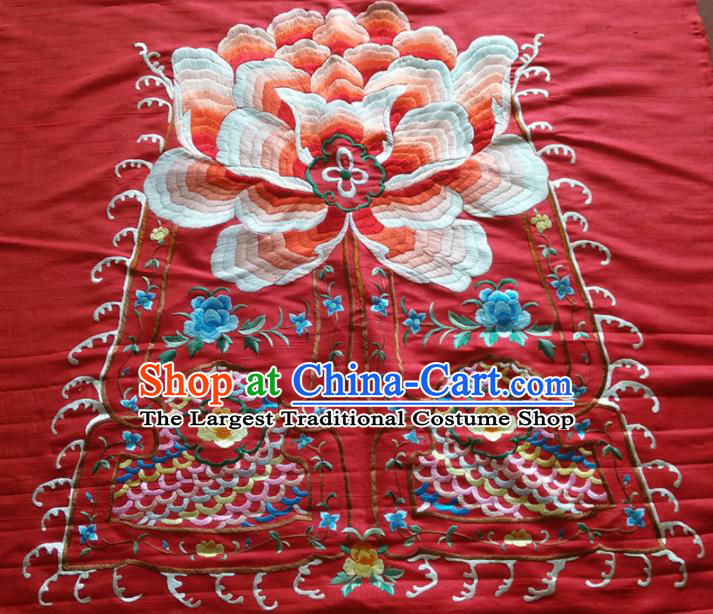 Asian Chinese Traditional Embroidered Peony Red Silk Patches Handmade Embroidery Craft