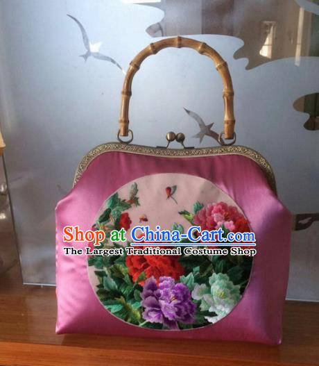 Chinese Traditional Embroidered Peony Pink Handbag Handmade Embroidery Craft Silk Bags