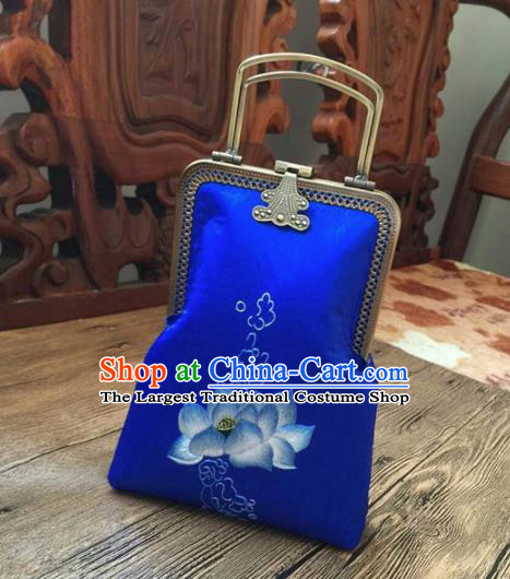 Chinese Traditional Embroidered Lotus Royalblue Handbag Handmade Embroidery Craft Silk Bags