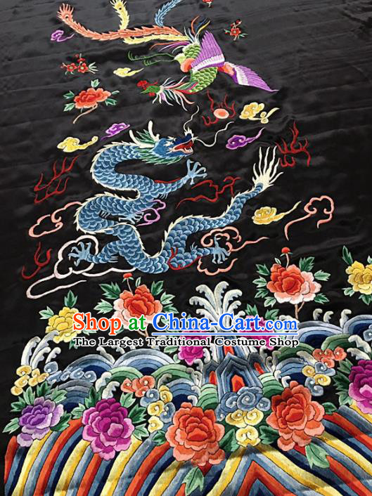 Chinese Traditional Embroidered Dragon Phoenix Silk Patches Cloth Fabric Handmade Embroidery Craft