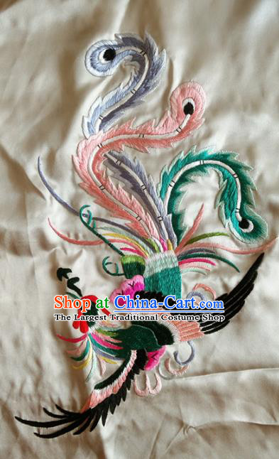 Asian Chinese Traditional Embroidered Phoenix White Silk Patches Handmade Embroidery Craft