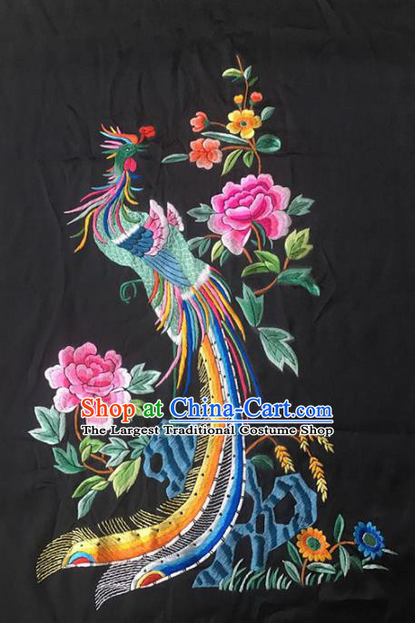 Asian Chinese Traditional Embroidered Phoenix Flowers Silk Patches Handmade Embroidery Craft