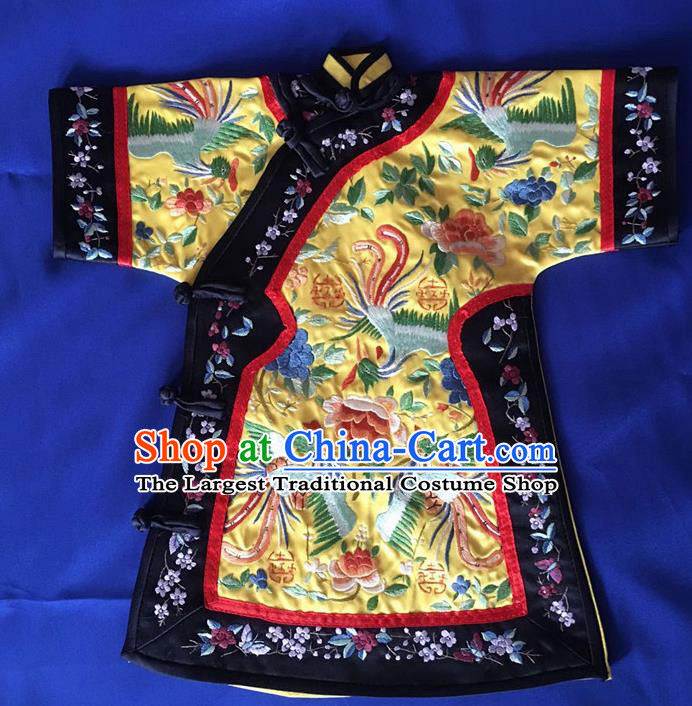 Chinese Traditional Silk Costume Tang Suit Embroidered Peacock Peony Silk Blouse for Kids