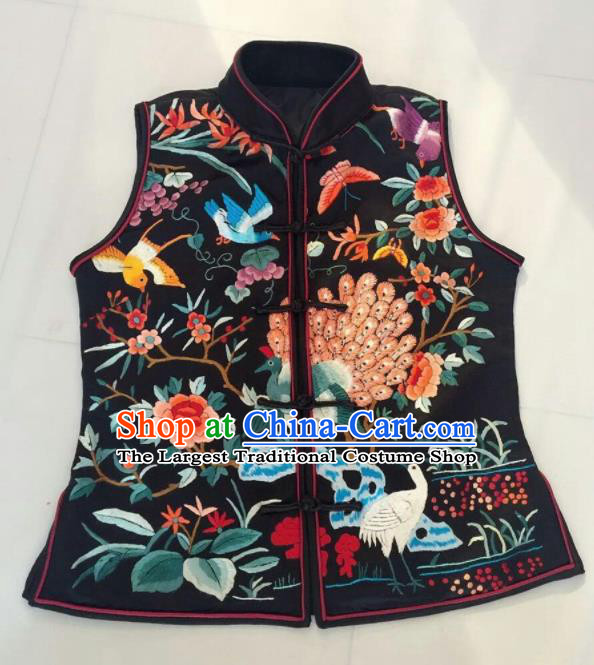 Chinese Traditional Silk Costume Tang Suit Embroidered Peacock Vest for Women