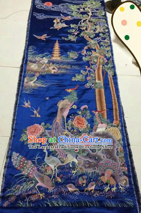 Asian Chinese Traditional Embroidered Phoenix Royalblue Silk Patches Handmade Embroidery Craft