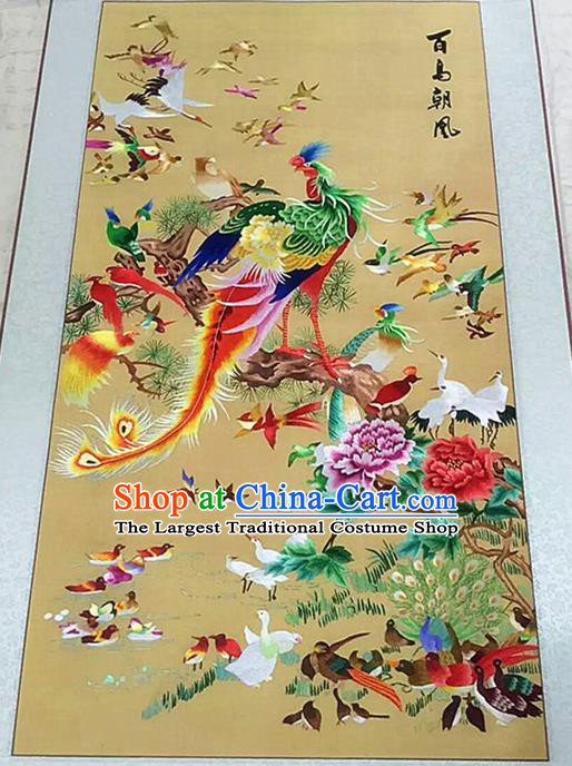 Asian Chinese Traditional Embroidered Phoenix Peony Silk Patches Handmade Embroidery Craft