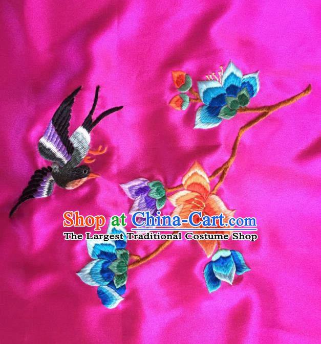 Chinese Traditional Embroidered Magpie Peony Rosy Silk Patches Handmade Embroidery Craft