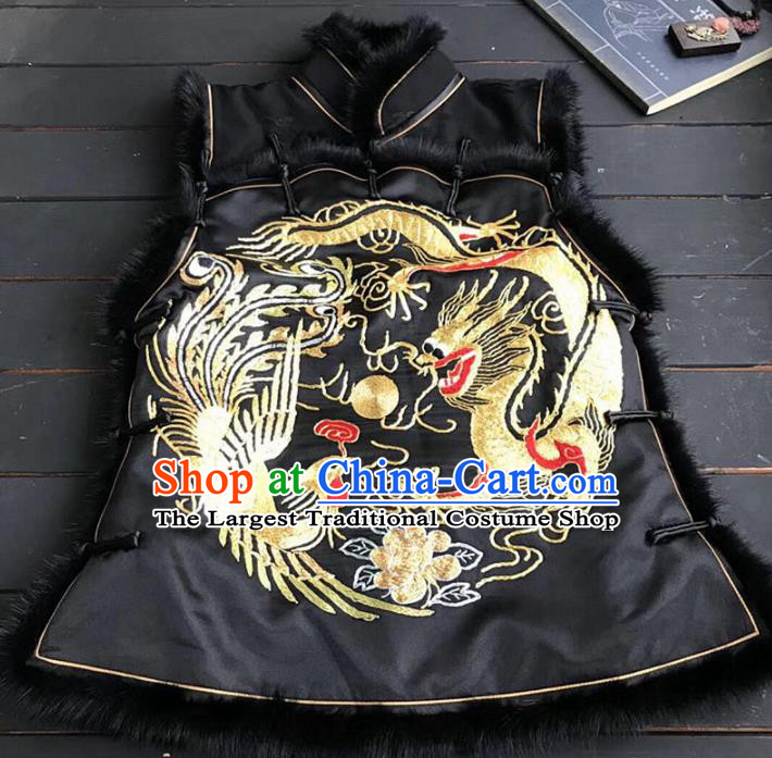 Chinese Traditional Costume Tang Suit Embroidered Dragon Phoenix Black Vest for Women