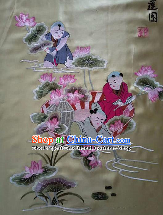 Chinese Traditional Embroidered Lotus White Cloth Patches Handmade Embroidery Craft Silk Fabric