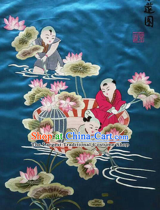 Chinese Traditional Embroidered Lotus Blue Cloth Patches Handmade Embroidery Craft Silk Fabric
