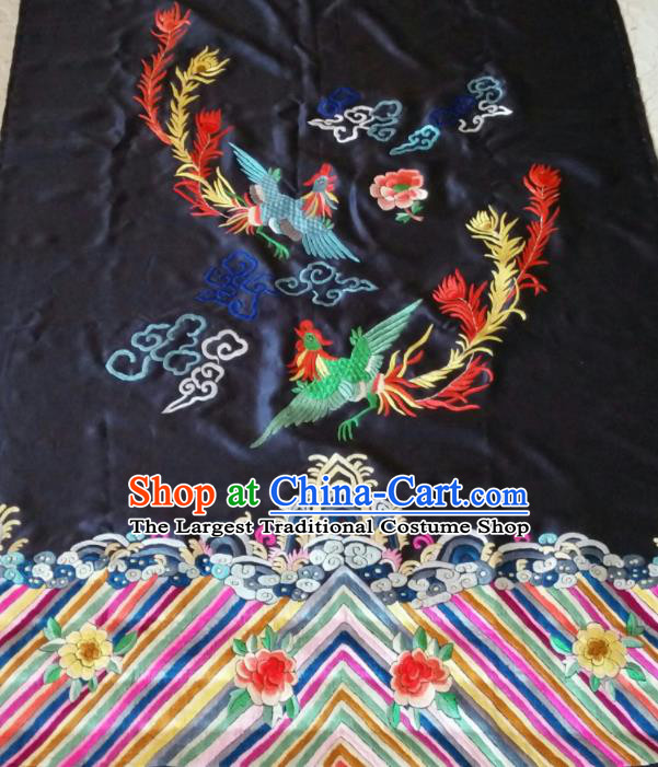 Chinese Traditional Embroidered Phoenix Peony Cloth Patches Handmade Embroidery Craft Silk Fabric