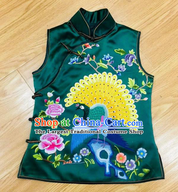 Chinese Traditional Costume Tang Suit Embroidered Green Silk Vest for Women