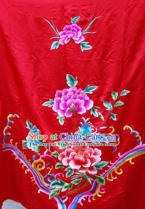 Chinese Traditional Embroidered Red Cloth Patches Handmade Embroidery Butterfly Peony Craft Silk Fabric