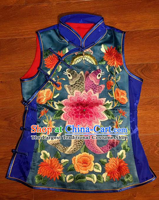 Chinese Traditional Silk Costume Tang Suit Embroidered Peony Vest for Women