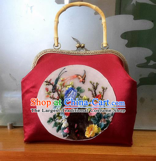 Chinese Traditional Embroidered Peony Red Handbag Handmade Embroidery Craft