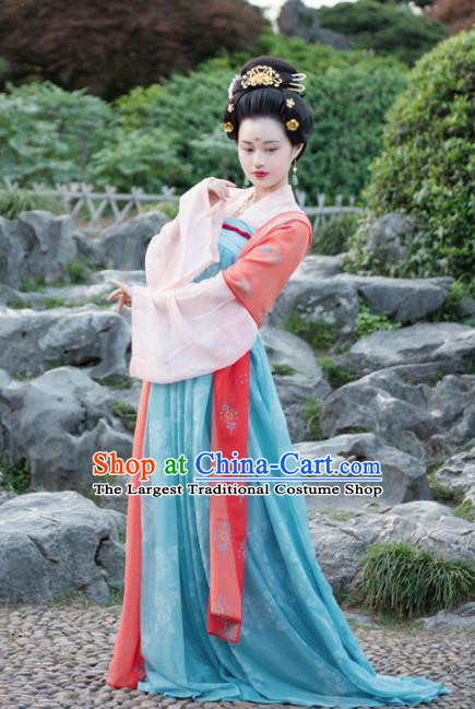 Chinese Traditional Tang Dynasty Imperial Consort Historical Costumes Ancient Peri Hanfu Dress for Women