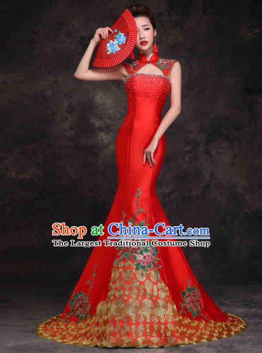 Chinese Traditional Costumes Elegant Embroidered Peony Red Cheongsam Full Dress for Women