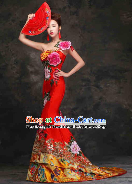 Chinese Traditional Costumes Elegant Embroidered Red Cheongsam Trailing Full Dress for Women