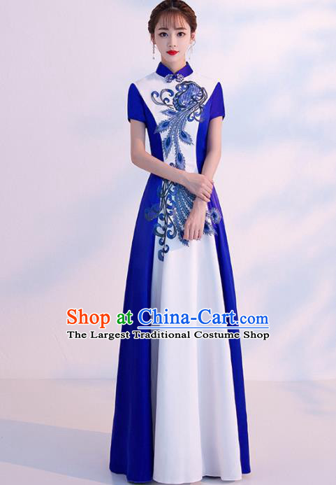 Chinese Traditional Costumes Elegant Embroidered White Cheongsam Full Dress for Women
