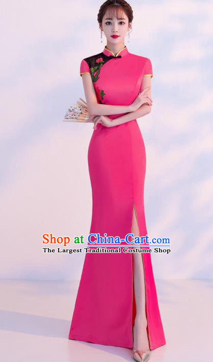 Chinese Traditional Costumes Elegant Embroidered Pink Cheongsam Qipao Dress for Women