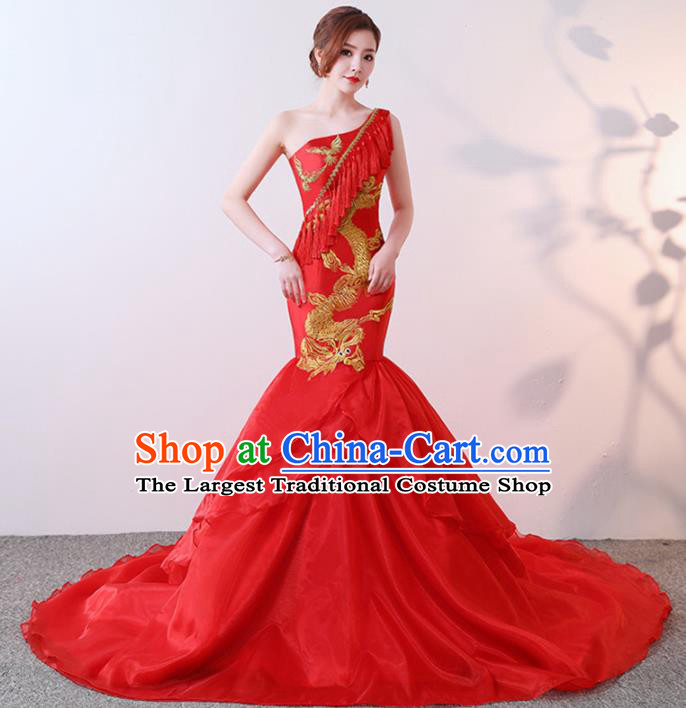 Chinese Traditional Costumes Elegant Red Full Dress Qipao Dress for Women