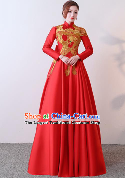 Chinese Traditional Costumes Elegant Red Full Dress Wedding Qipao Dress for Women