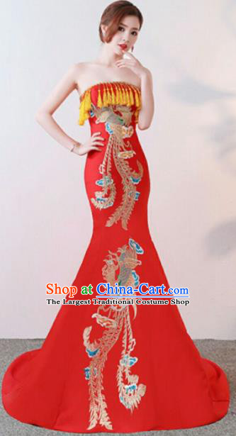 Chinese Traditional Costumes Elegant Embroidered Full Dress Wedding Qipao Dress for Women