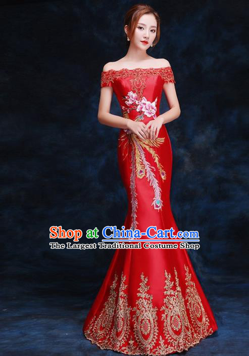 Chinese Traditional Costumes Elegant Embroidered Phoenix Full Dress Wedding Qipao Dress for Women