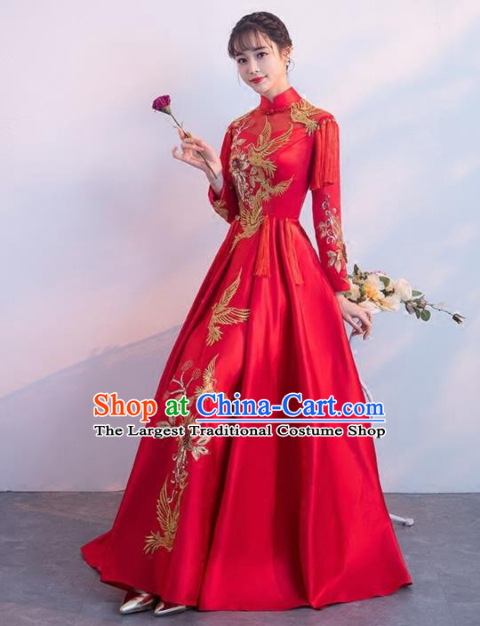 Chinese Traditional Costumes Elegant Wedding Full Dress Red Qipao Dress for Women