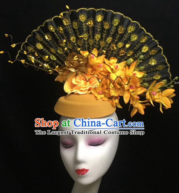 Top Halloween Hair Accessories Chinese Traditional Catwalks Yellow Flowers Top Hat Headdress for Women