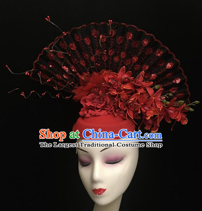 Top Halloween Hair Accessories Chinese Traditional Catwalks Red Flowers Top Hat Headdress for Women