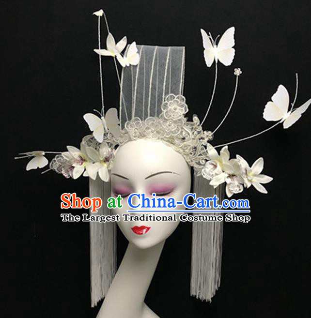 Top Halloween Giant Hair Accessories Chinese Traditional Catwalks White Lace Butterfly Headpiece for Women