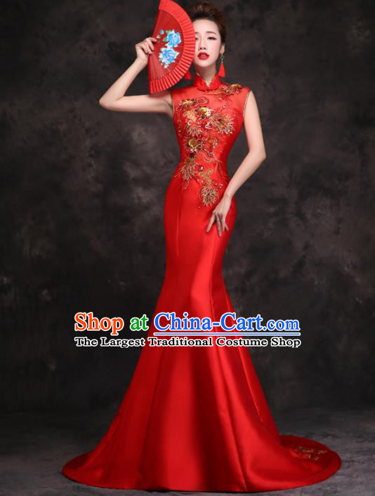 Chinese Traditional Costumes Elegant Wedding Mermaid Full Dress Red Qipao Dress for Women