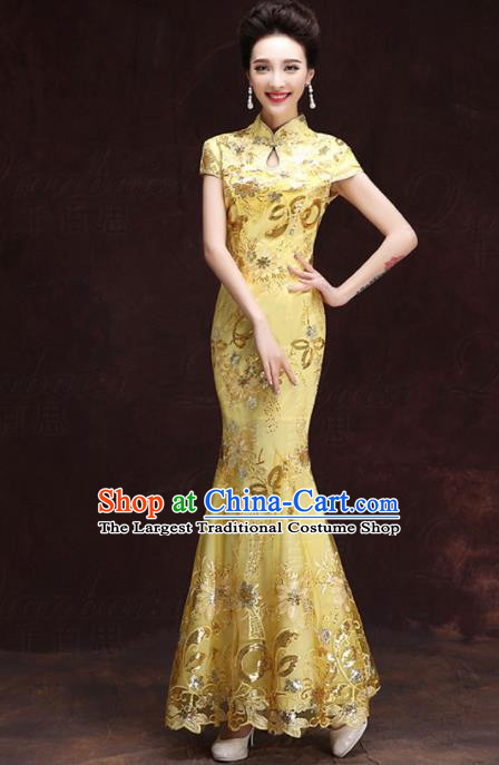 Chinese Traditional Costumes Elegant Mermaid Full Dress Yellow Qipao Dress for Women