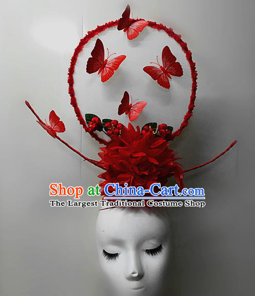 Top Halloween Red Feather Giant Hair Accessories Stage Show Chinese Traditional Palace Catwalks Headpiece for Women