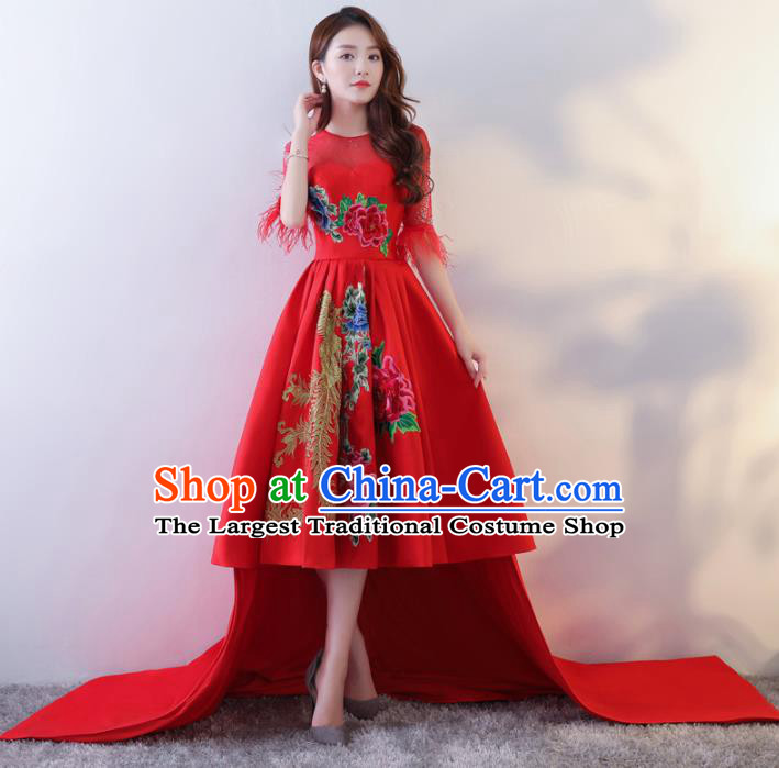 Chinese Traditional Costumes Elegant Red Full Dress Compere Qipao Dress for Women