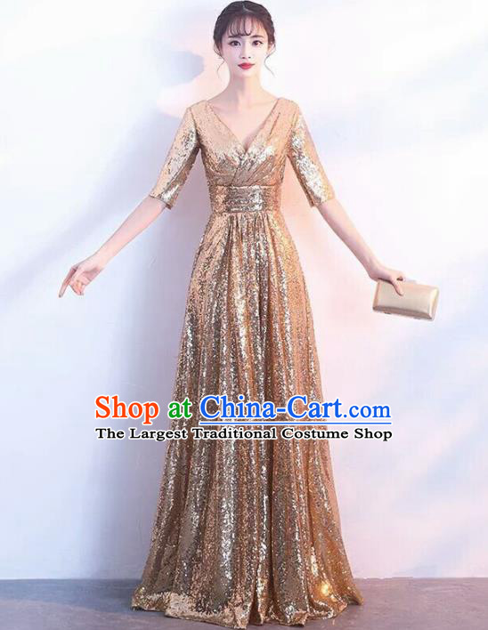 Top Grade Stage Performance Costumes Modern Dance Elegant Golden Full Dress for Women