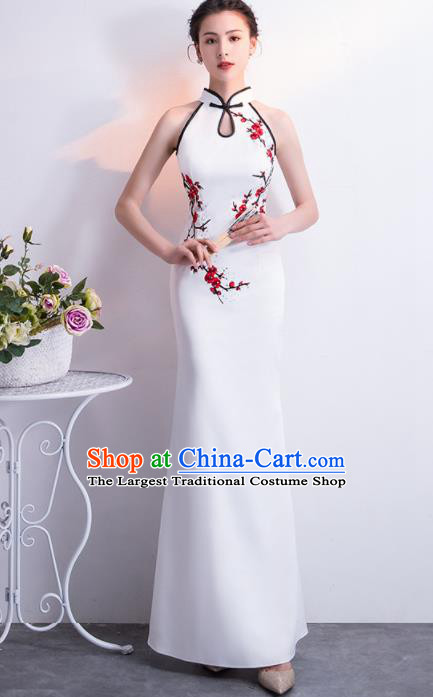 Chinese Traditional White Cheongsam Qipao Dress Elegant Compere Full Dress for Women