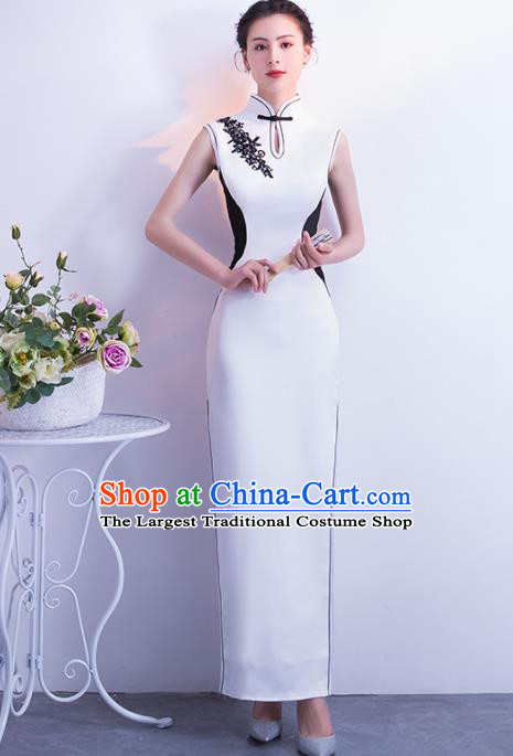 Chinese Traditional White Silk Cheongsam Qipao Dress Elegant Compere Full Dress for Women