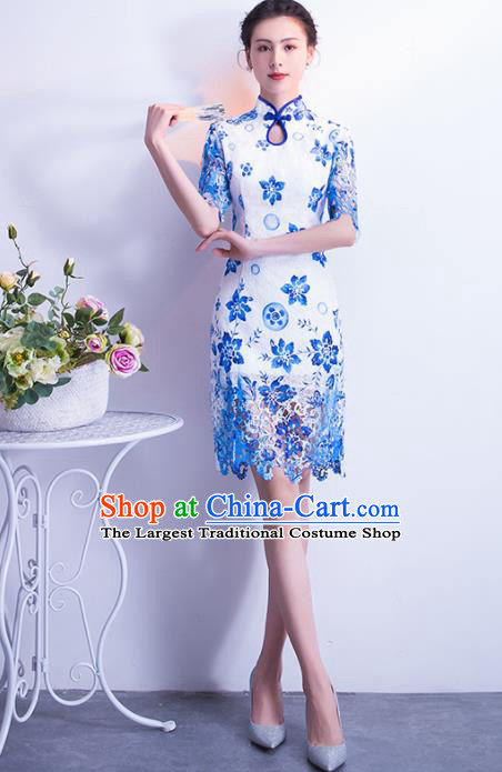 Chinese Traditional Blue Lace Cheongsam Qipao Dress Elegant Compere Full Dress for Women