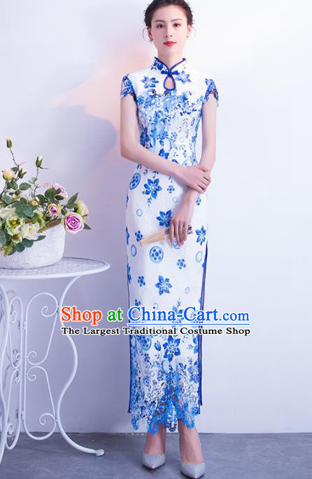 Chinese Traditional Blue Cheongsam Qipao Dress Elegant Compere Full Dress for Women