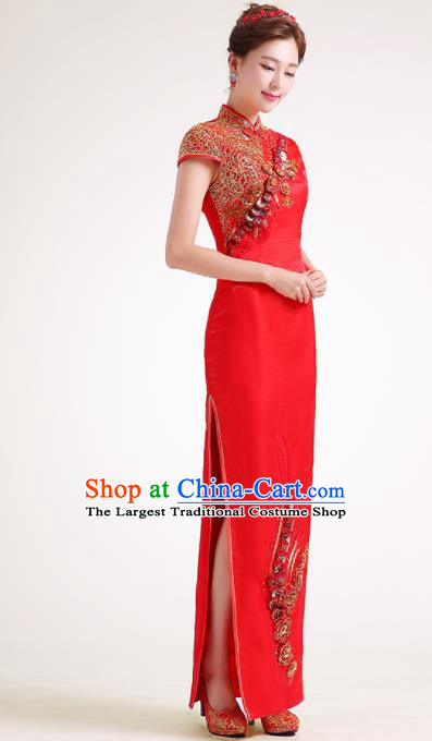 Chinese Traditional Red Cheongsam Elegant Qipao Dress Compere Full Dress for Women