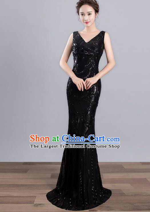 Top Grade Stage Performance Costumes Modern Dance Elegant Black Sequins Full Dress for Women