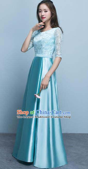Top Grade Stage Performance Compere Blue Formal Dress Chorus Elegant Lace Full Dress for Women