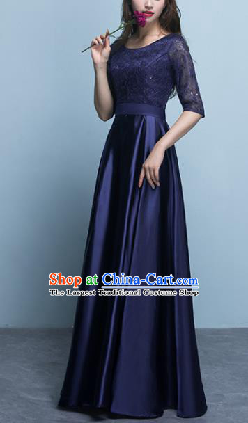 Top Grade Stage Performance Compere Deep Blue Formal Dress Chorus Elegant Lace Full Dress for Women