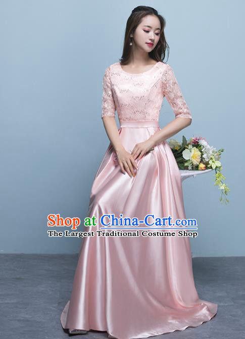Top Grade Stage Performance Compere Pink Formal Dress Chorus Elegant Lace Full Dress for Women